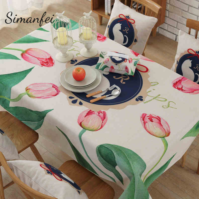 Simanfei Cotton Linen Tablecloth 2017 New Pastoral Simple Style Home Life Table covers Lotus print Restaurant Coffee Table Decor