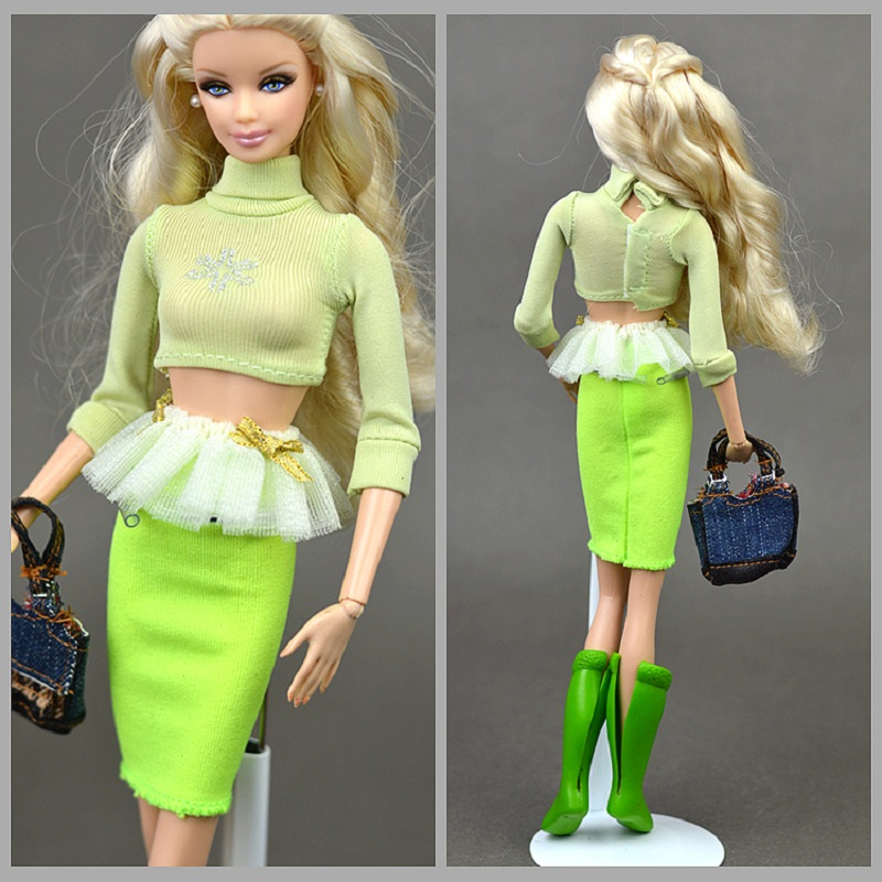 Dress up dolls 4 pcs/set doll green boots coat skirt Bag Suitable for dolls Christmas birthday gift baby DIY No model doll