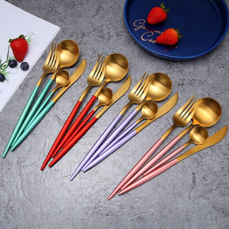 24Pcs/set Dinnerware Set 304 Stainless Steel Black Gold Cutlery Set  Knife Fork Set Flatware Tableware Silverware Drop Shipping 4