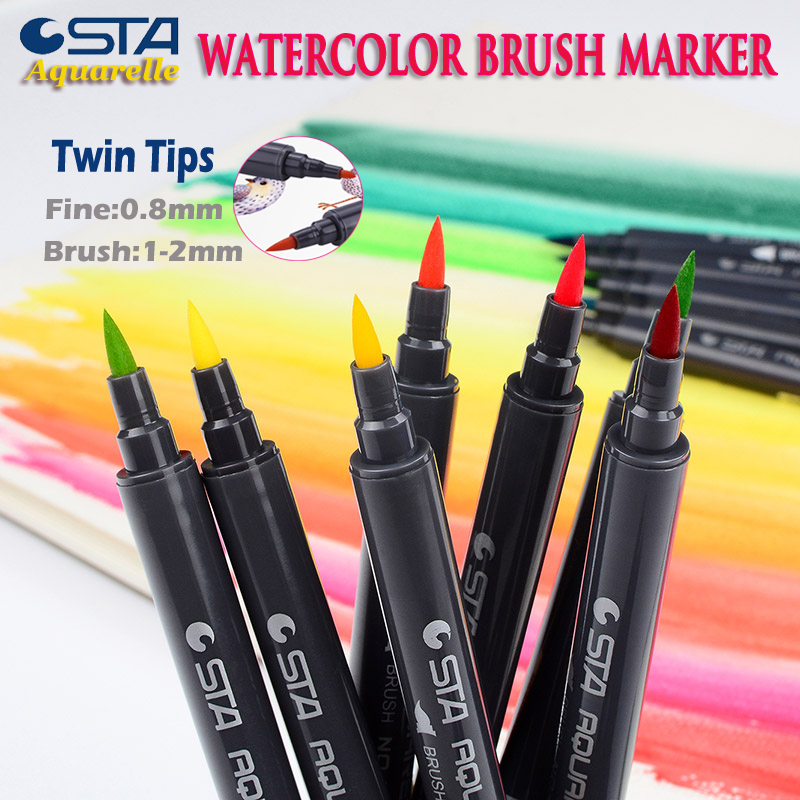 STA 3110 80 Watercolor Soft Brush Marker Pens Flexible Tip Painting Calligraphy Brush,Water Coloring for Children Adult Books