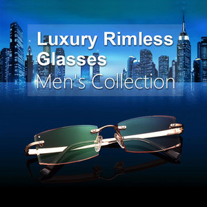 Image 3 - Gmei Optical Phantom przycinanie okulary tytanowe męski model diamentowe przycinanie złote bez oprawek wykończone okulary korekcyjne dla mężczyzn