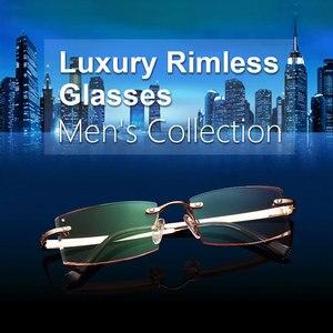 Image 3 - Gmei Optical Phantom trimming titanium eyewear male model diamond trimming Gold rimless finished prescription glassses for Men