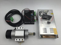 400w 12000rpm Brushless CNC Spindle Motor DC48V + 400w Power Supply + MACH3 Speed Controller + Mount Bracket CNC kit