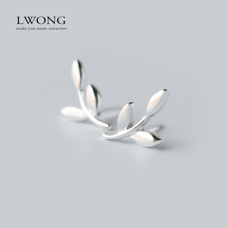 Fashion Silver Leaf Ear Climber Silver Stud Earrings Women Dainty Leaves Small Tiny Earrings Brinco Ear Cuff Sweep