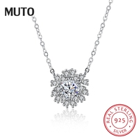 MUTO New Snowflake Pendant Necklace AAA Zirconia 925 Sterling Silver Necklaces for Women Brinco Christmas Fine Jewelry SVXL1942