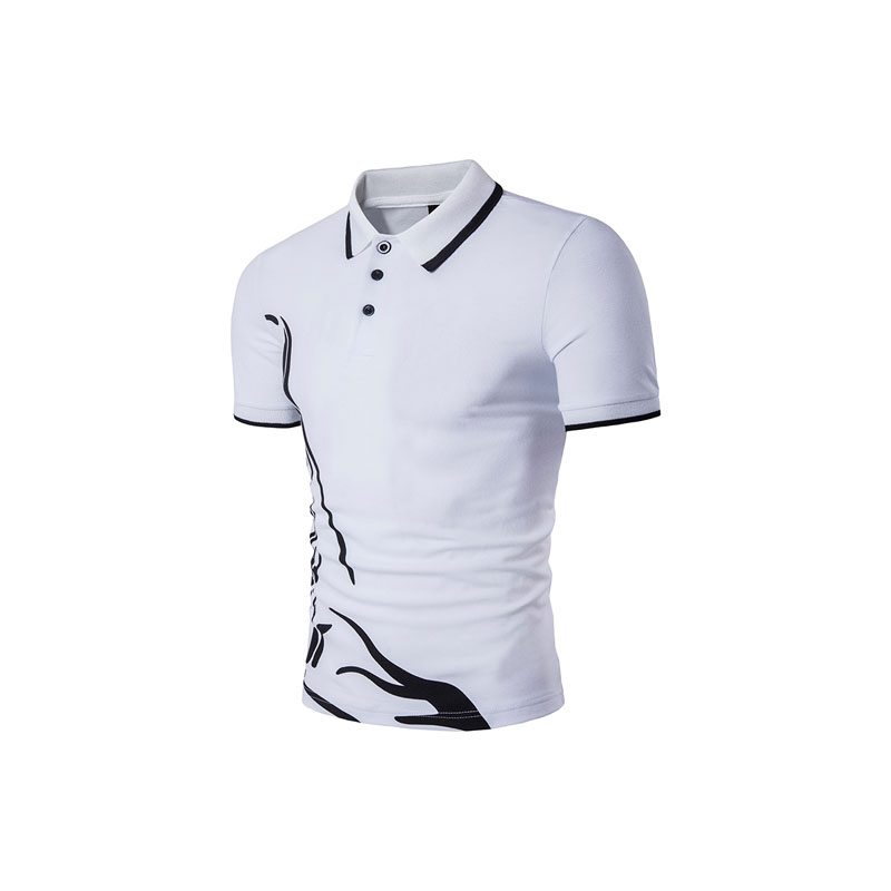 Real shot figure men s summer men s hem printing lapel short - sleeved casual T - shirt