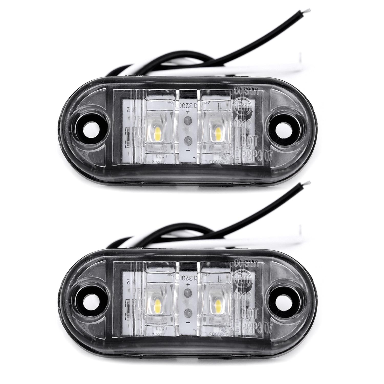 2Pcs/Set White 12V LED Car Side Marker Tail Light 24V Trailer Truck Lamp 66*28*18mm Car Side Marker Lights