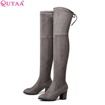 QUTAA 2018 Ladies Autumn/Spring Shoes Square High Heel Women Over The Knee Boots Scrub Black Woman Motorcycle Boots Size 34-43