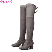 QUTAA 2017 Ladies Autumn Spring Shoes Square High Heel Women Over The Knee Boots Scrub Black