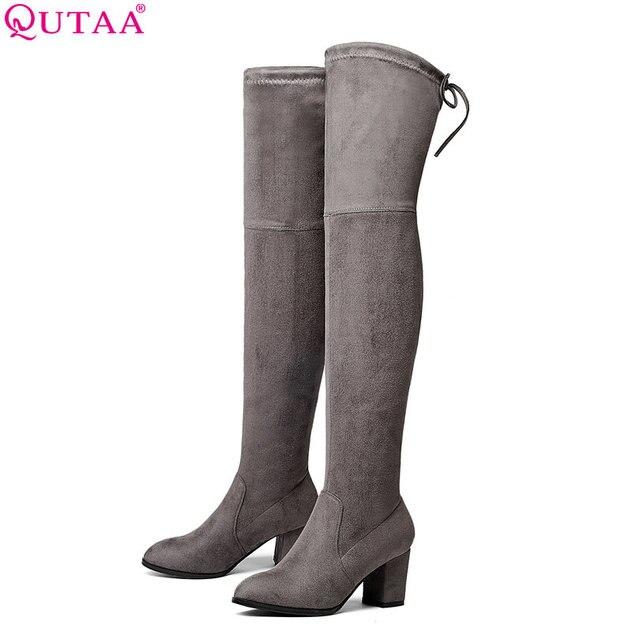 QUTAA/2018 г. Женская осенне-весенняя обувь, женские сапоги выше колена на высоком квадратном каблуке, черные сапоги-скрабы, женские мотоциклетные сапоги, размер 34-43