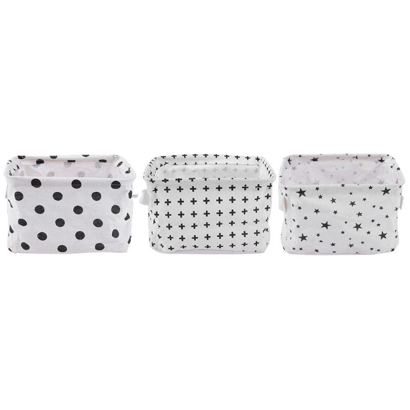 Portable Desktop Cosmetic Storage Box Cotton Linen Washable Foldable Makeup Toy Holder Organizer for Home Clothes Tidy Basket
