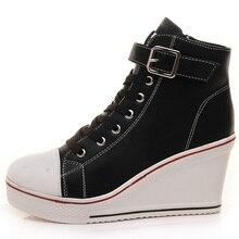 Casual Zapatos de Cuero de Las Mujeres Cuña de la Plataforma Zapatos de Mujer de Tacón Ocultos High Top Zapatos Blanco Negro Snickers Cuñas Botas de Gran Tamaño 43