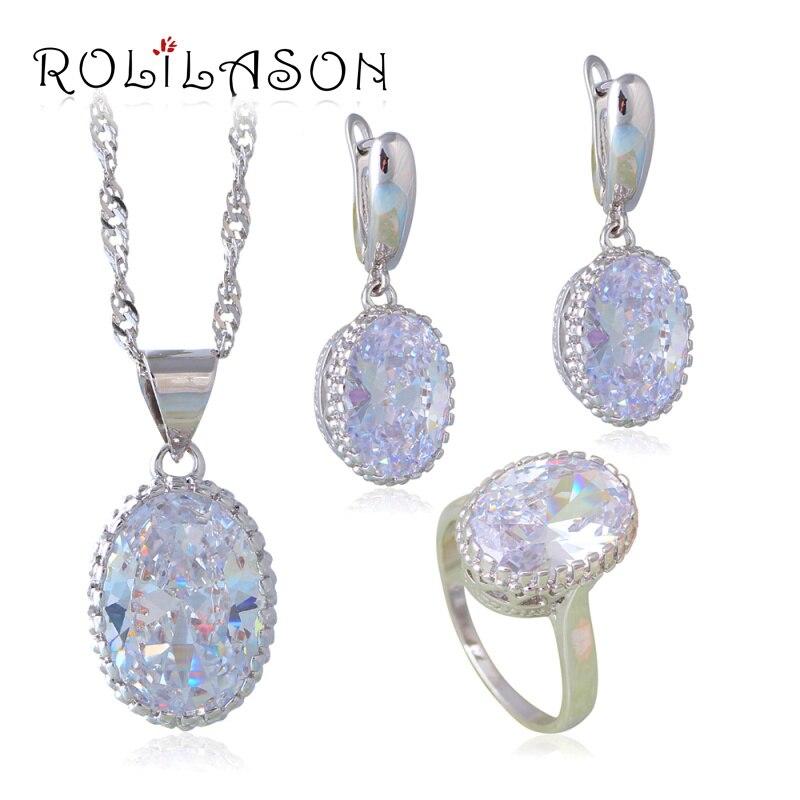 57db92d7c6f5 Moda brillante descuento grande joyería de la boda de plata AAA zirconia  pendiente Collar set para las mujeres JS647