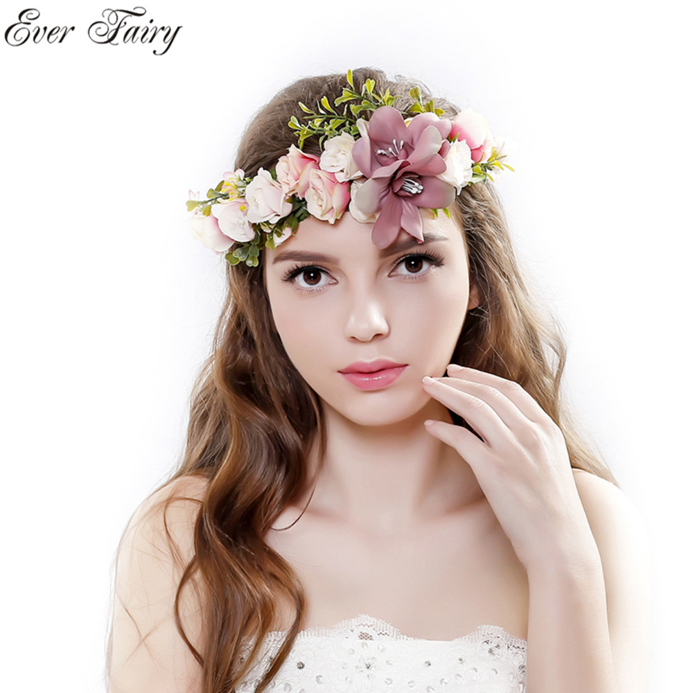 Handmade Rose Flower Crown Garland Halo For Wedding Travel Festivals Wreath Headpiece Decorations Coroa De Flores In Hair Accessories From