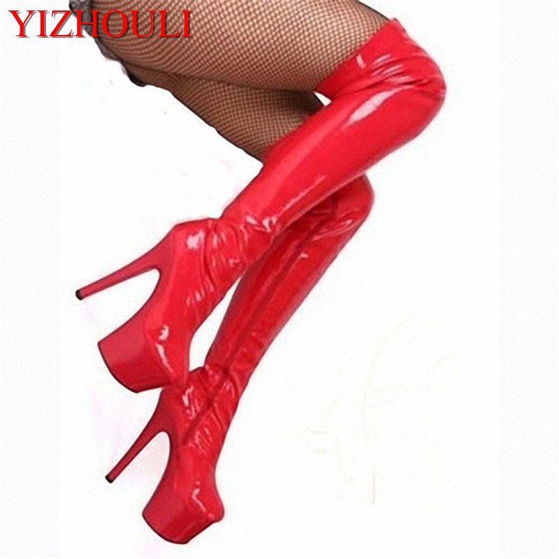 Ultra high heels over-the-knee plus size high-leg 20cm boots high-heeled boots steel pipe dance boots sexy thigh high boots european slim sexy high heels suede high boots unusual 20cm ultra high heels 8 inch sexy stage shoes knee length boots