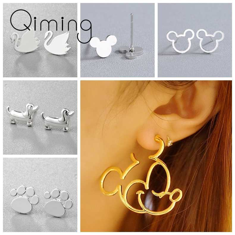 2019 Silver Cute Women's Earrings Mickey Minnie Donald Daisy Swan Dog Paw Lovely Animal Tiny Children Cartoon Earring Gift