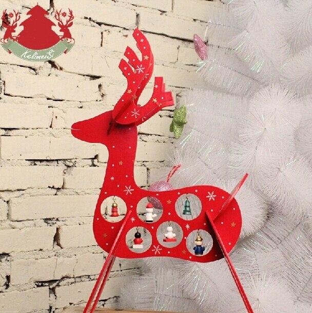 Рождественский украшения-рождественские украшения для дома 2015 Новый стиль деревянный прекрасный олень дерево подарок бесплатная доставка