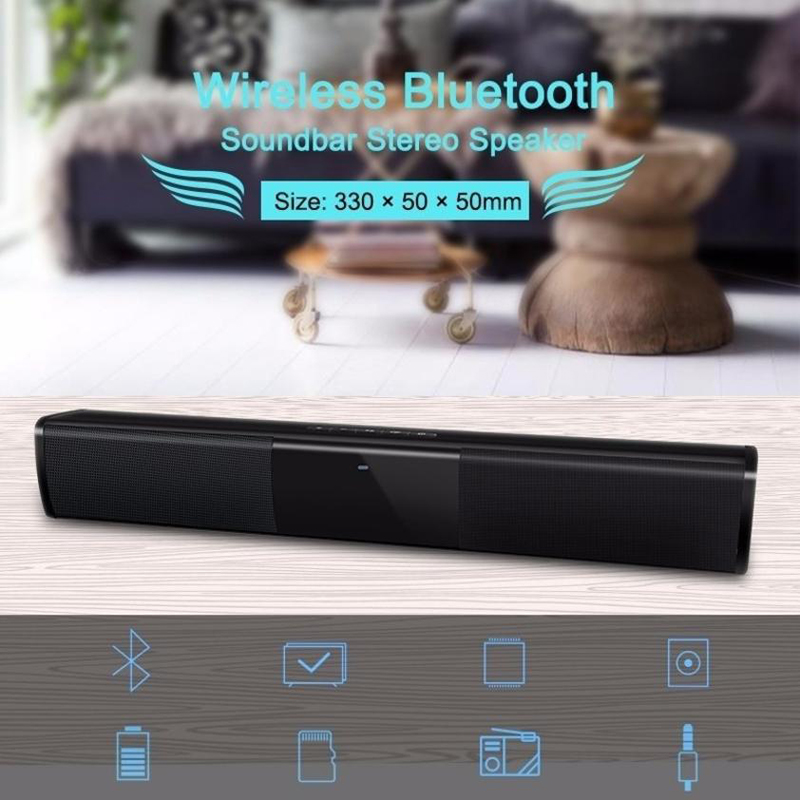 10w wireless sound bar with subwoofer bluetooth 4 2 speakers portable tv pc 3d stereo music surround speaker support tf card aux Bluetooth Speaker Sound Bar Wireless 3D Stereo Surround Music TV Computer Bluetooth Speakers Support 3.5mm TF USB(Black)