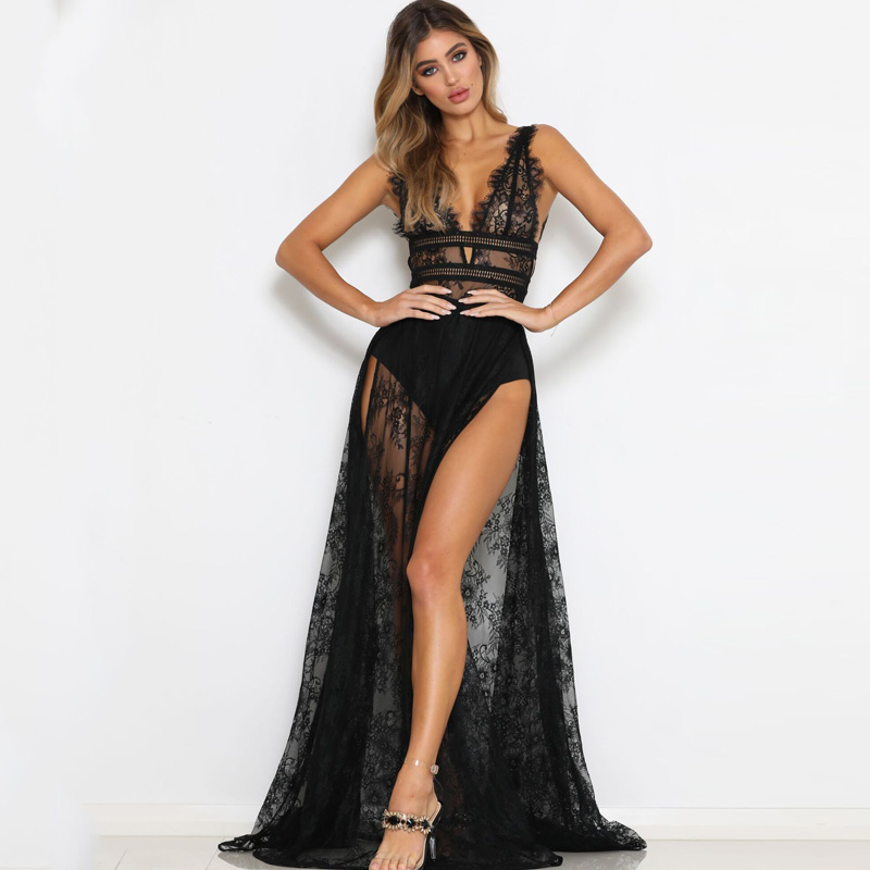 Trancilong Sexy Perspective Lace High Slit Deep V neck Elegant Summer Women 39 s Halter Sleeveless Nightclub Long Dress in Dresses from Women 39 s Clothing