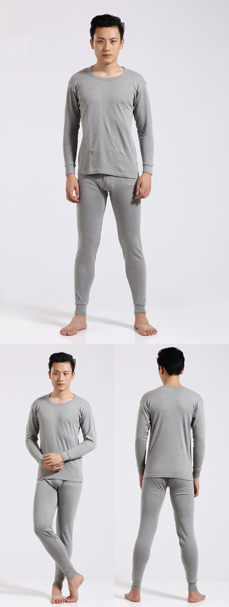 Queenral Men Long Johns Thermal Underwear Male Long Johns Men For Winter Cotton Warm Pajama Set Winter Man Round Neck Sexy 14