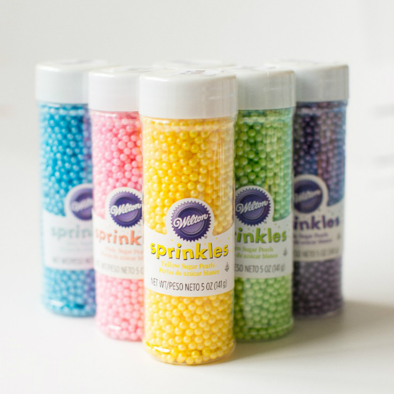 Became edible silver bead cake decoration color beads, 141 g sugar bottled