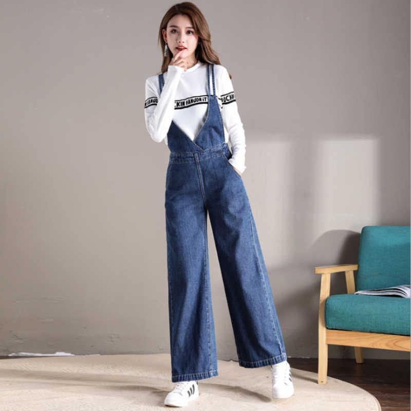 88bce53f3ae8 ... Harness Jumpsuit Female Summer 2018 New European Fashion Denim Bodysuit  Rompers High Waist Flares Jeans Jumpsuit XL on Aliexpress.com