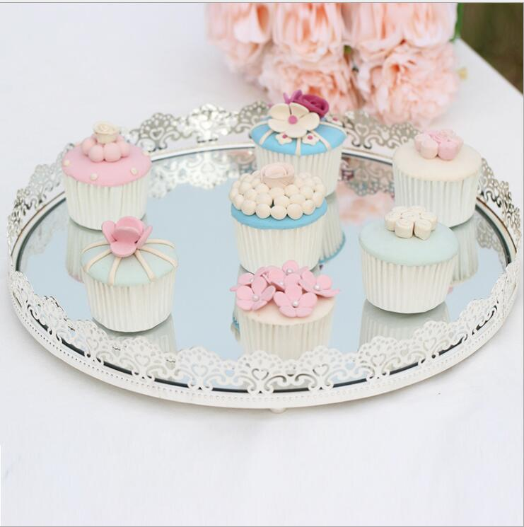 European silver plated cake tray Dessert table decoration metal mirror candy food serving trays fruit plate