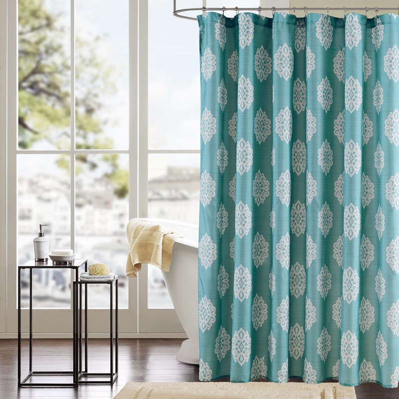 Modern Style Elegant Shower Curtains Green with White Floral Printed Polyester Waterproof Shower Curtains Bathroom Curtain