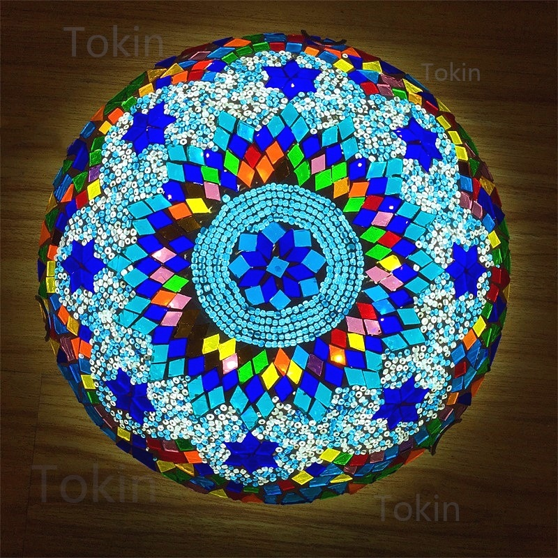 Newest Turkish mosaic ceiling Lamp vintage art deco Handcrafted lamparas de mesa Glass romantic light lamparas con mosaic-in Ceiling Lights from Lights & Lighting
