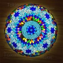Novedosa lámpara de techo de mosaico turco, lamparas de mesa artesanales art deco vintage, lámparas de cristal románticas con mosaicos