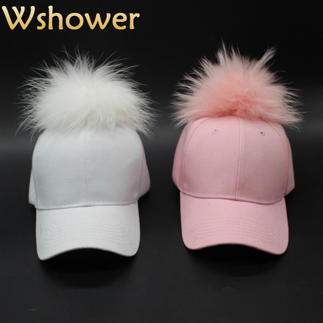 Big Real Dyeing Raccoon Fur Hat Hip Hop Fur Ball Pom Pom Baseball Cap Curved Snapback Cap With Pompon Fitted Trucker Hat Women