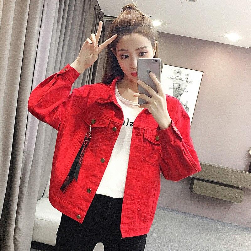 2018 Spring Autumn Korean BF Wind Loose   Coat   Women New Red Denim Hole Jacket Long Sleeve Streetwear