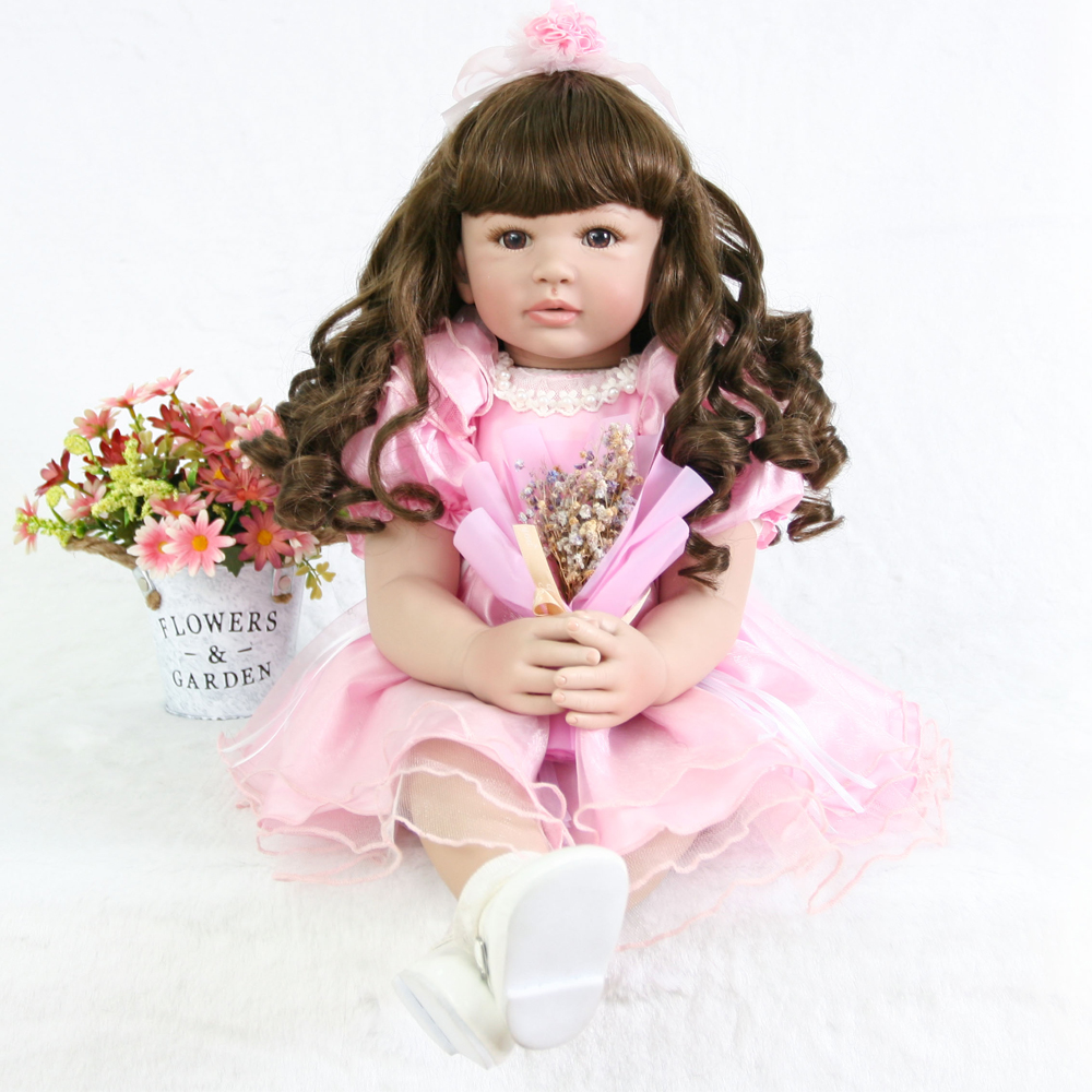 a0bb345ea9 Novos cachos de Silicone Realista Boneca Reborn menina linda princesa Bebê  Bebes Reborn Bonecas Bonecas Para Presente Crianças festa de Aniversário