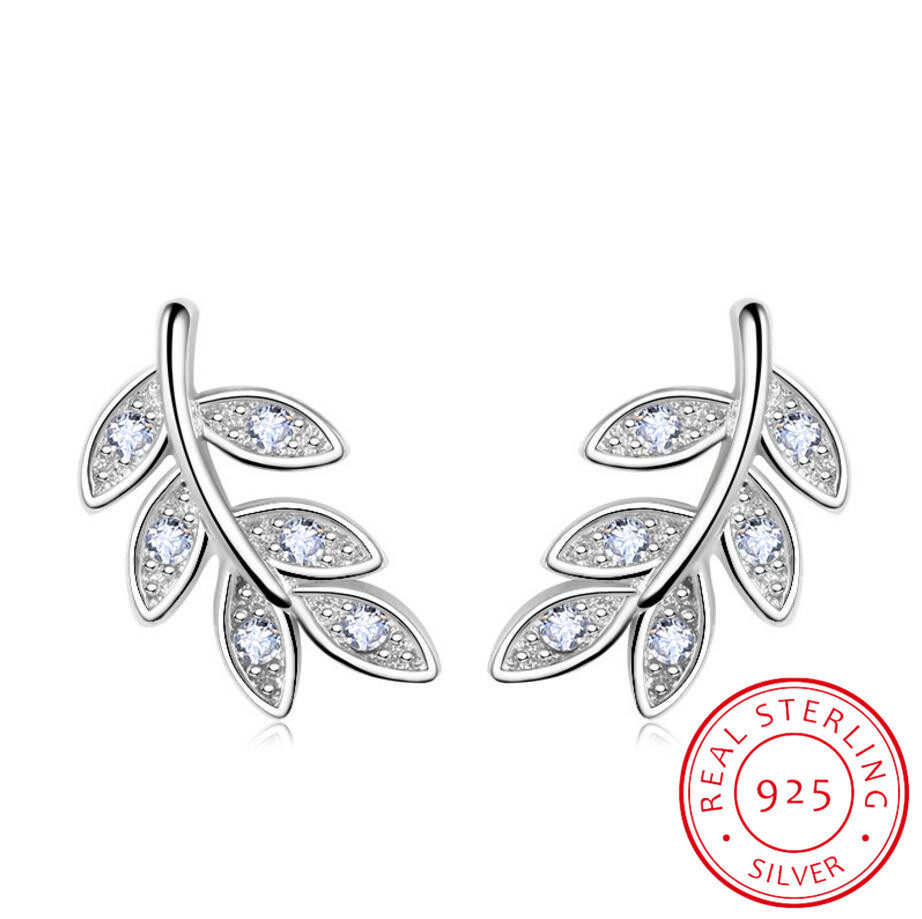 925 Sterling Silver Olive Branch Leaves Stud Earrings Micro Pave Cubic Zirconia For Women Girls Fine Jewelry Brincos
