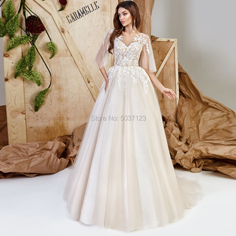 Half Sleeves Wedding Dresses Lace Appliques Scoop Open Back Floor Length Court Train Tulle Vestido De Noiva Bridal Wedding Gown-in Wedding Dresses from Weddings & Events