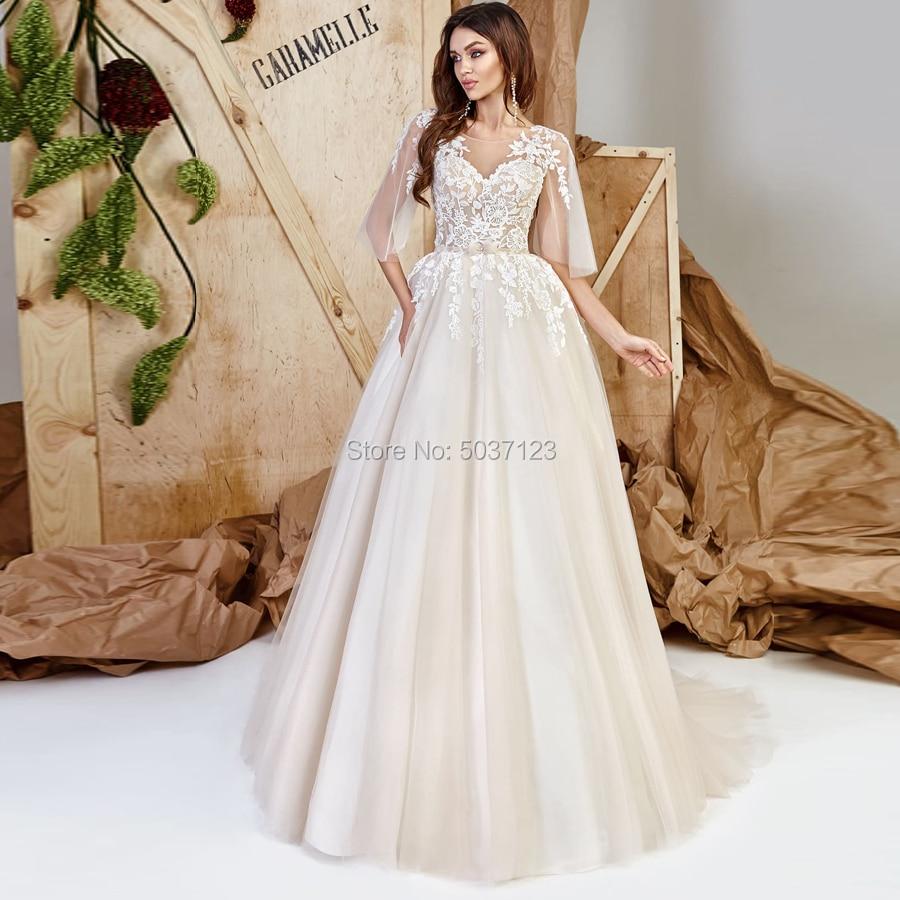 Half Sleeves Wedding Dresses Lace Appliques Scoop Open Back Floor Length Court Train Tulle Vestido De Noiva Bridal Wedding Gown