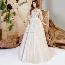 하프 슬리브 웨딩 드레스 레이스 아플리케 스쿠프 오픈 백 플로어 길이 코트 트레인 tulle vestido de noiva bridal wedding gown