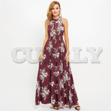 цена на CUERLY Halter backless summer long dress women Hollow out sleeveless maxi dress Casual high waist floral print dress vestidos