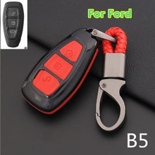 Carbon Fiber Cover For Ford Fiesta Focus 3 4 Mondeo Ecosport Kuga Focus ST Car Key Smart Remote Key Case Fob(China)