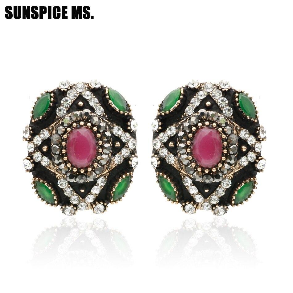 Daesar Gold Plated Earrings Womens Stud Earrings White Rhinestone Earring Double Circle Round Earrings