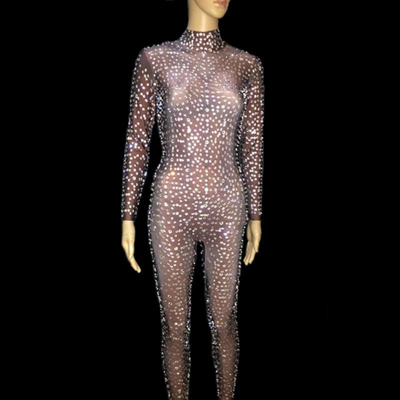 Для женщин к требованиям заказчика; сверкающие стразы на сетчатой основе комбинезон Пром гламурный комбинезон наряд для празднования вече