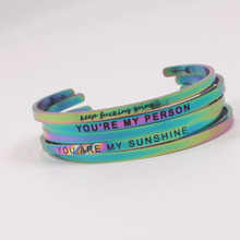 316L Stainless Steel Positive Text Cuff Bracelets Inspirational Quote Mantra Bracelet Bangle For Men Women Gift