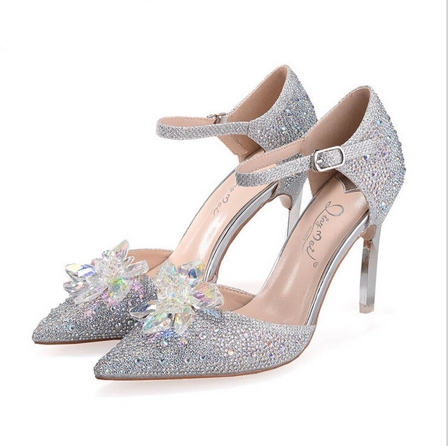 96b3768291e 9cm Women Rhinestone Shoes 2015 Crystal Cinderella Glass Shoes Escarpins  Semelle Rouge High Heel Party Pumps For Womens  5828-3