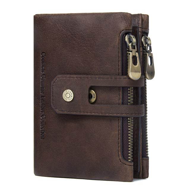 CONTACT'S Genuine Crazy Horse Leather Mens Wallet Man Cowhide Cover Coin Purse Small Brand Male Credit&ID Multifunctional Walets 1