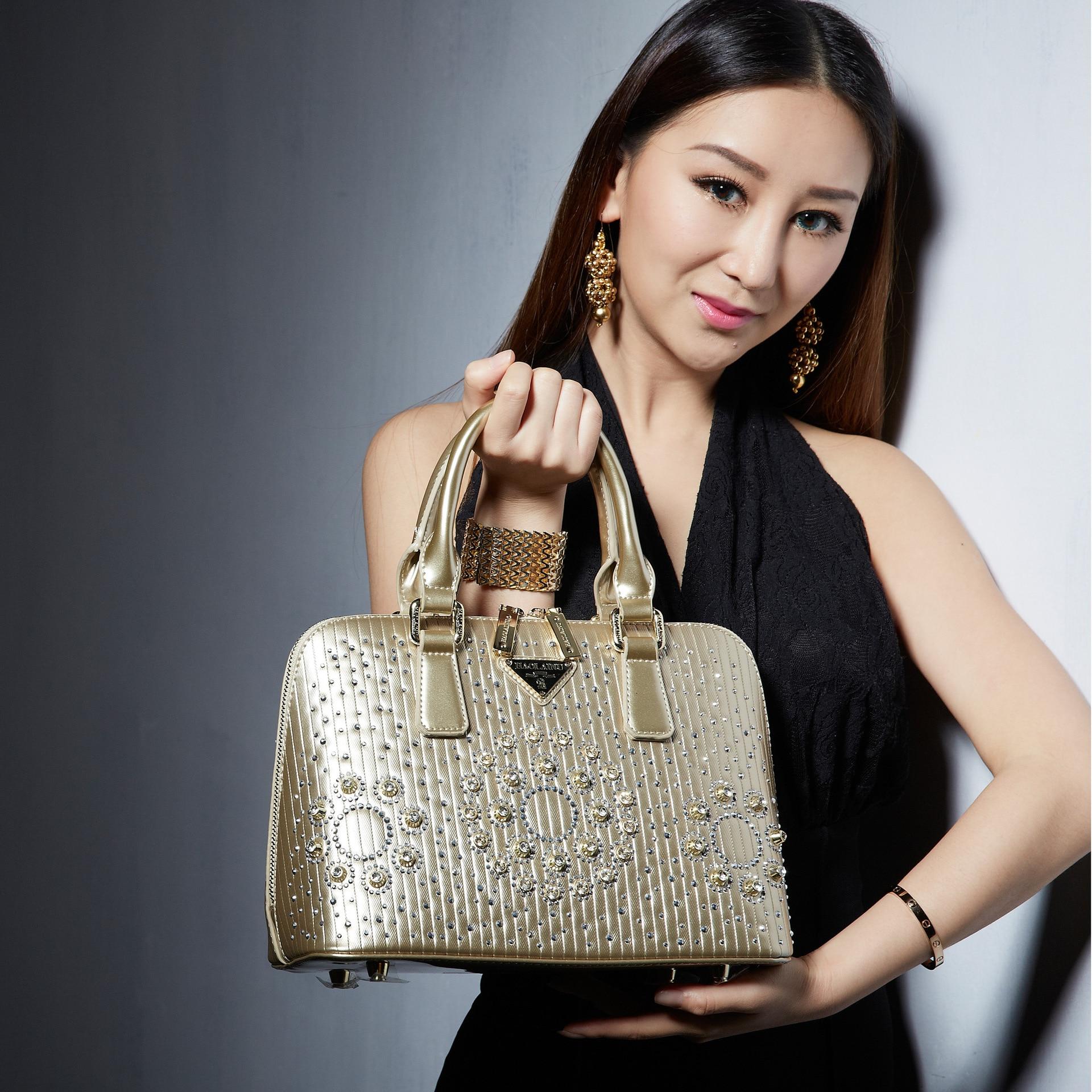 ФОТО 2017 Champagne Women's Leather Handbag Shell Bag for Party wedding with Diamond Shoulder Bag Fashion Messenger Bag brilliant