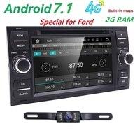 순수 안드로이드 7.1 자동차 DVD GPS 네비게이션 플레이어 스테레오 라디오 오디오 4 그램 포드 포커스 2 몬데오 S C 최대 축제 갤럭시 연결 카메