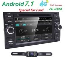 Pur Android 7.1 Voiture DVD GPS Navi Lecteur Stéréo Radio Audio 4G pour Ford Focus 2 Mondeo S C Max Fiesta Galaxy Connecter Avec caméra