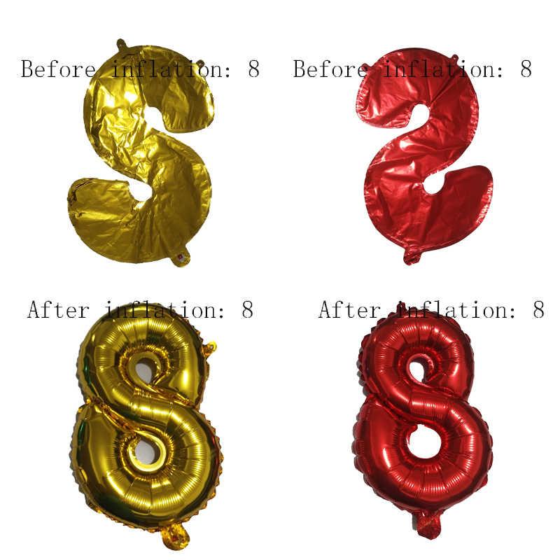 16 32 אינץ מספר לסכל בלון עלה זהב כסף כחול לטשטש דיגיטלי Globos יום הולדת מסיבת קישוט תינוק מקלחת אספקת Globo