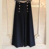 Широкие брюки Для женщин осень свободные 2018 длинные черные брюки Для женщин мода кнопка брюки
