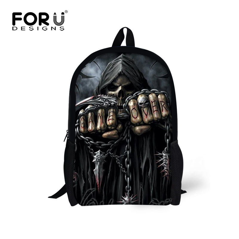 Forudesigns Punk Style Skull Printed Men's Backpack Fashion Man Large Travel Knapsack Bags Notebook Bag Students School Bags Kid